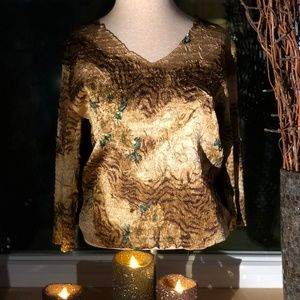 Alberto Makali L Brown Sequin Shirt V Neck Shirt